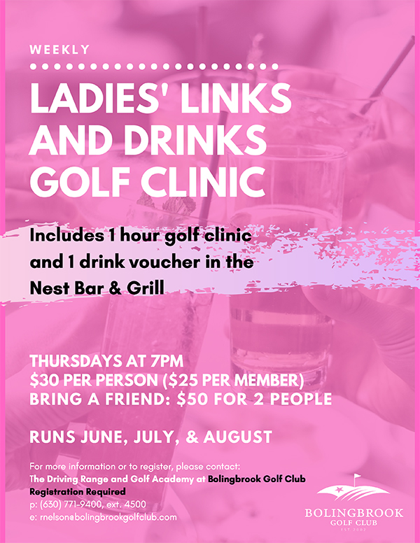 Flyer for the Ladies' Links and Drinks at Bolingbrook